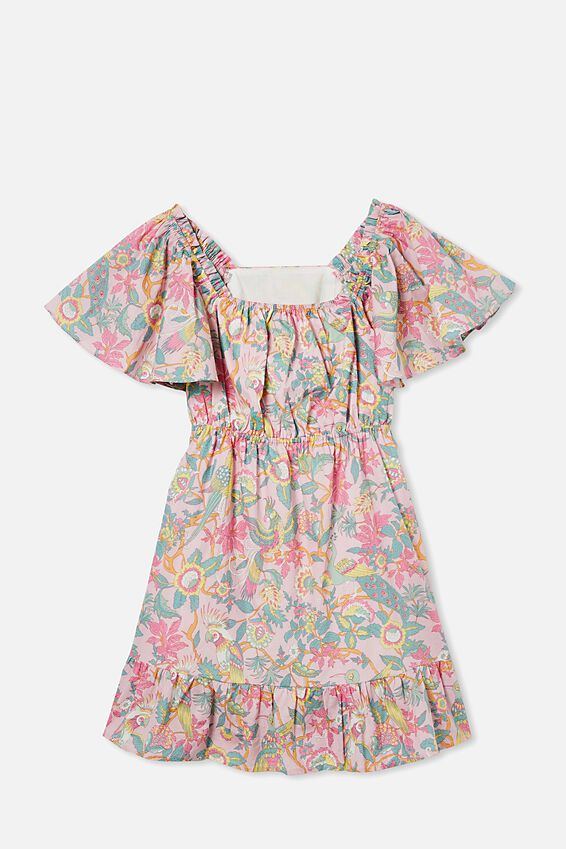 Salma Short Sleeve Dress, MARSHMALLOW/GARDEN OF BIRDS