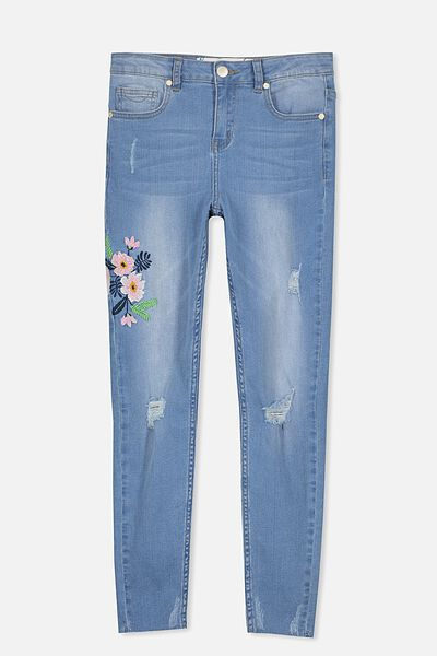 Embroidered Denim Jean, BRIGHT INDIGO/PRETTY EMB