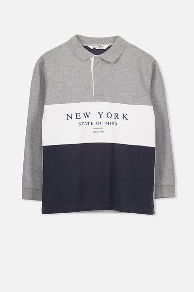 Rugby Jumper, GREY/NAVY NEW YORK