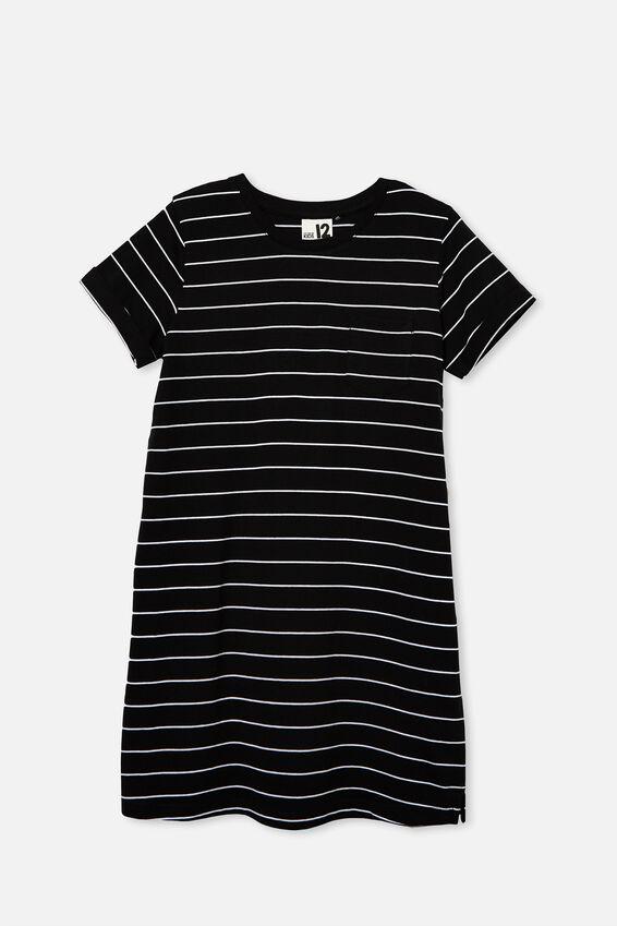 Toni Tshirt Dress, BLACK/WHITE STRIPE