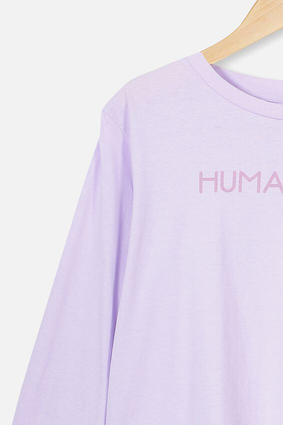 Girls Long Sleeve Tee, VINTAGE LILAC/HUMAN KIND