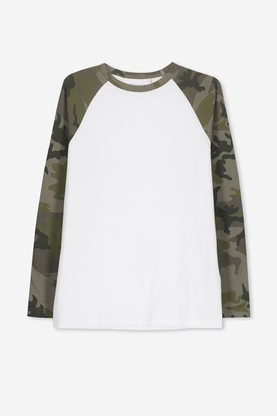 Raglan Long Sleeve Tee, WHITE/CAMO SLEEVE