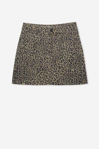 Stretch Denim Skirt, GREEN/ANIMAL