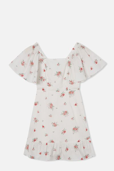 Salma Short Sleeve Dress, VANILLA/PRETTY DITSY
