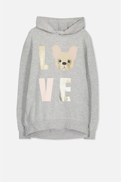 Hazel Hoodie, LIGHT GREY/LOVE PUG