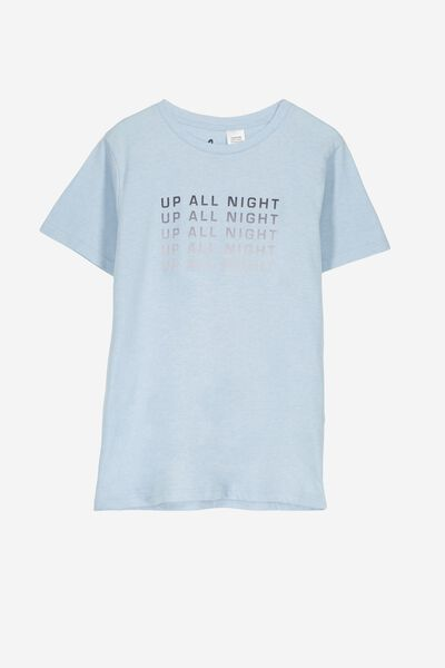 Lachie Ss Sleep Tee, BLUE NEP MARLE/UP ALL NIGHT