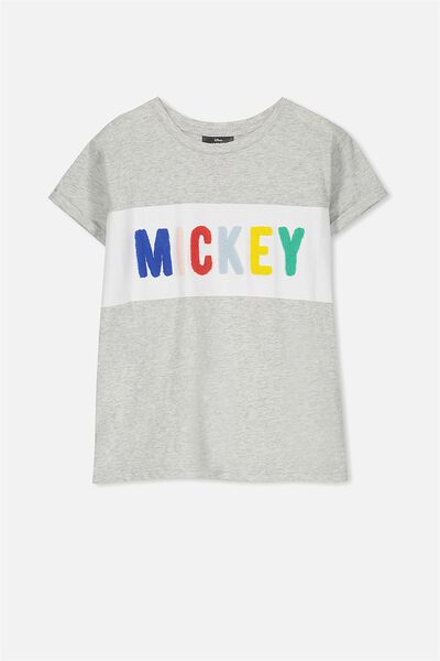 Lucy Licence Tee, SOFT GREY MARLE/MICKEY MULTI