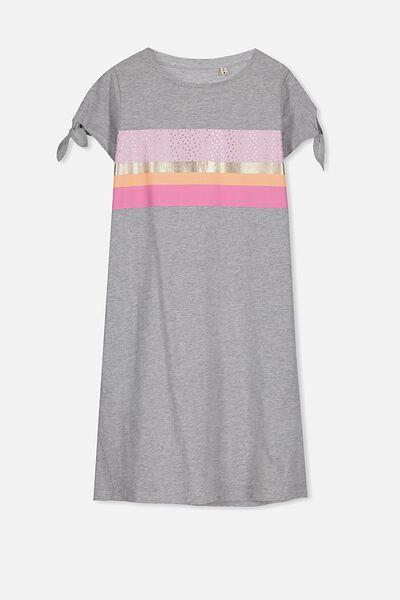 Darci Dress, LIGHT GREY MARLE/SPOTTY STRIPE