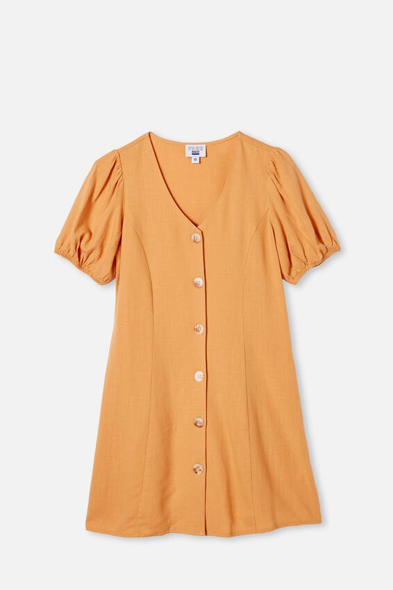 Luna Short Sleeve Dress, APRICOT SUN
