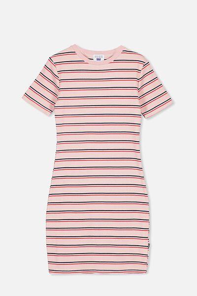 Rib T-Shirt Dress, DUSTY ROSE/STRIPE