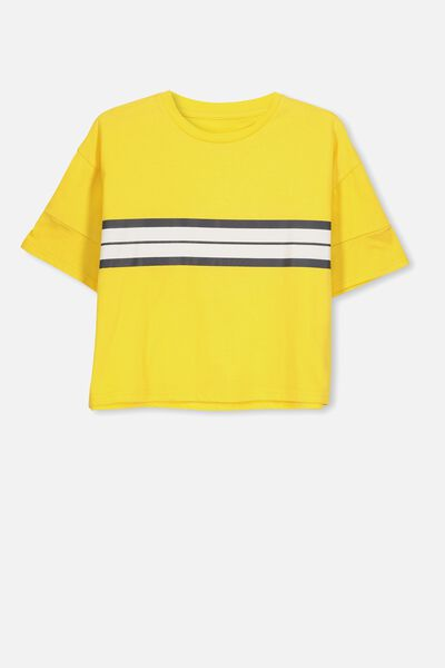 Boxy T-Shirt, CHEESY/SLEEVE STRIPE