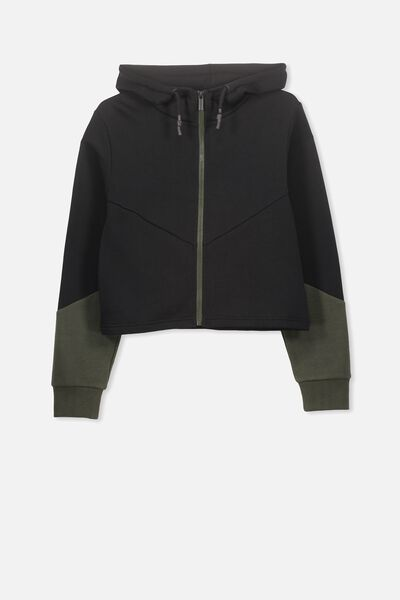 Zip Thru Hooded Fleece, BLACK/ARMY KHAKI