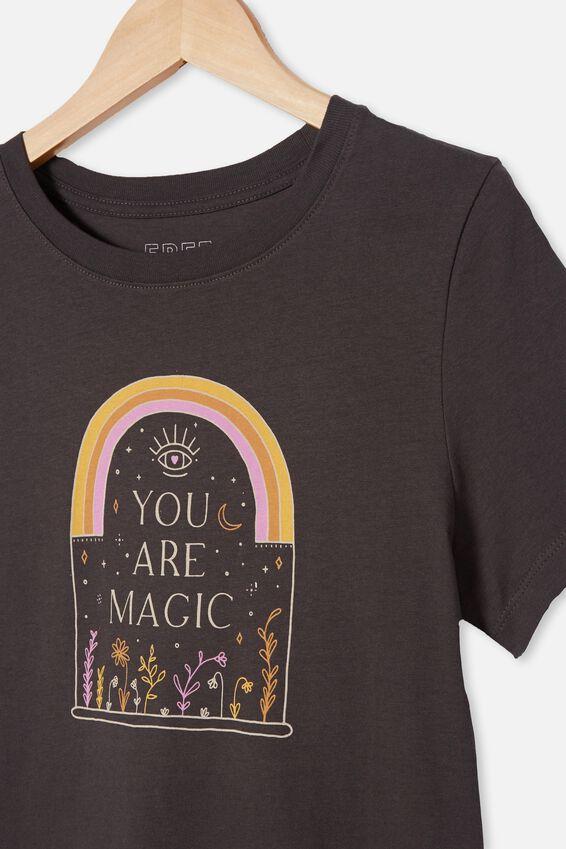 Girls Classic Ss Tee, PHANTOM/YOU ARE MAGIC