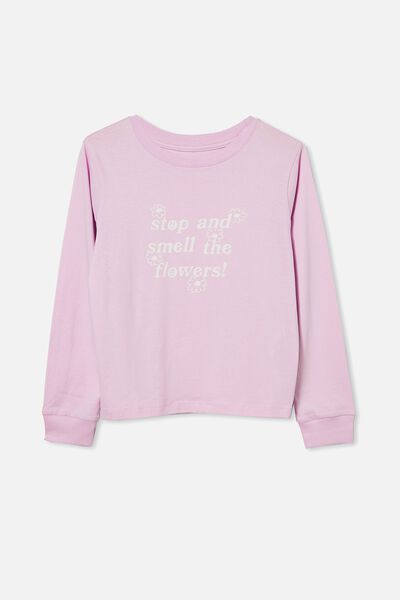 Girls Classic Ls Tee, PALE VIOLET/SMELL THE FLOWERS