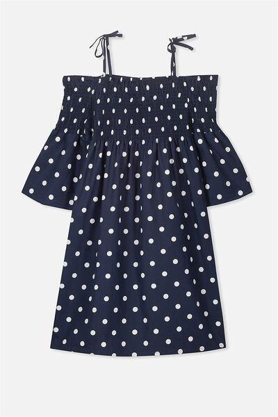 Ruched Off Shoulder Dress, OBRIEN BLUE/WHITE SPOT