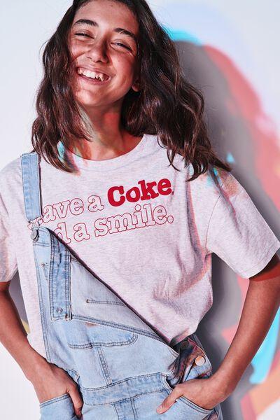 Girls License Boxy Tee, LCN CC GREY MARLE SMILE