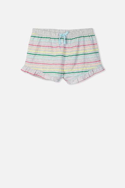Jelena Frill Sleep Short, SOFT GREY MARLE/GELATI STRIPE
