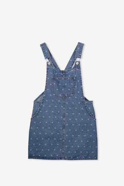 Denim Overall Dress, INDIGO SPOT