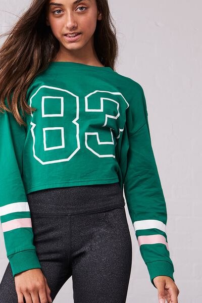 Girls Drop Shoulder Ls Tee, LUCKY GREEN/83