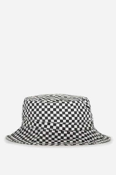Free Zip Bucket Hat, WASHED BLACK/CHECKERBOARD