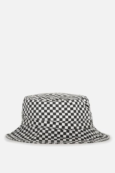 Free Zip Bucket Hat, WASHED BLACK/CHECKERBOARD