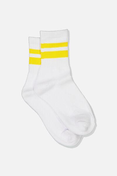 Ribbed Crew Socks, S BANDS YELLOW