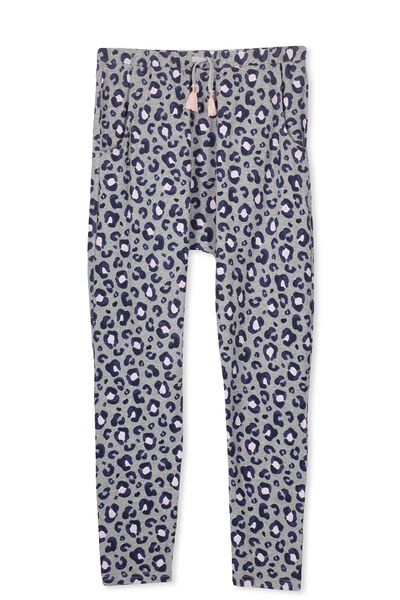 Hayley Slouch Pant, MID GREY MARLE/LEOPARD