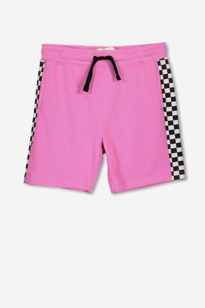 Game Knit Short, PINK GERBERA/CHECK PANEL
