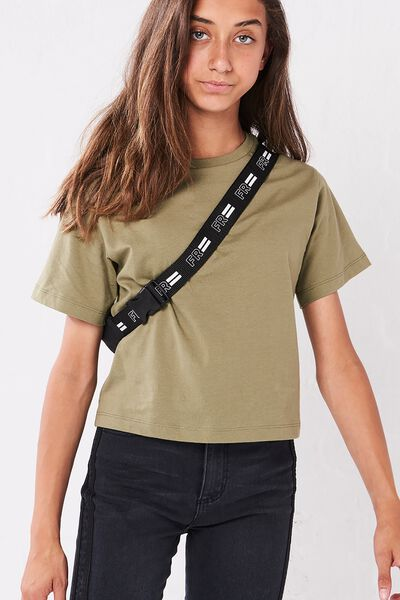 Girls Essential Tee, KHAKI