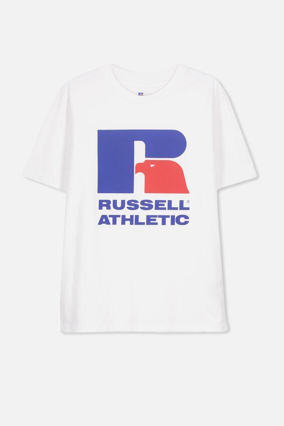 Russell Short Sleeve Tee, LCN RUS/WHITE/R LOGO