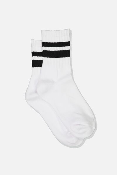 Ribbed Crew Socks, S BANDS BLACK STRIPES