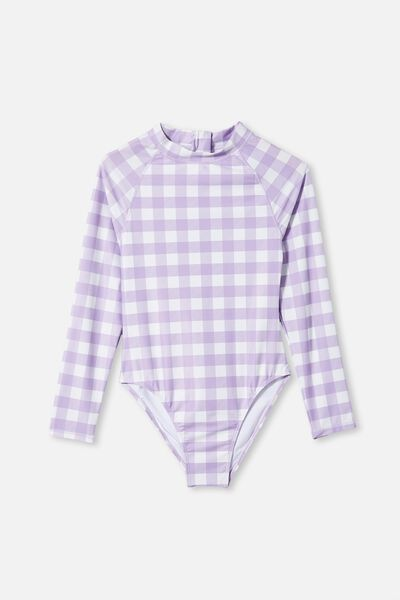 Lindsay Long Sleeve One Piece, SUMMER VIOLET CHECK