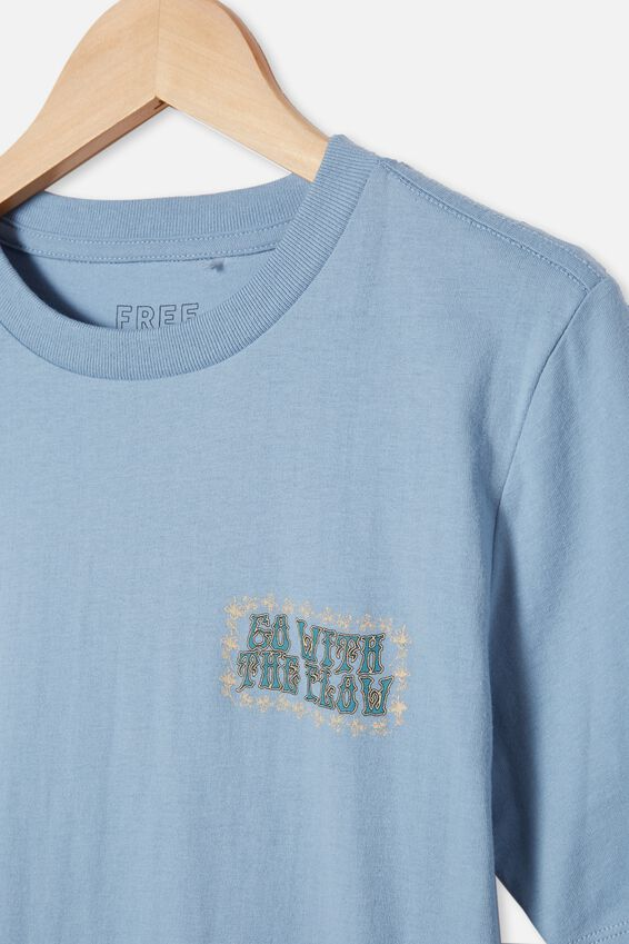 Free Boys Skater Short Sleeve Tee, DUSTY BLUE/FLOW