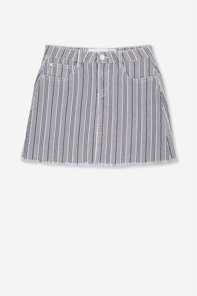 Cara Denim Skirt, TICKING STRIPE