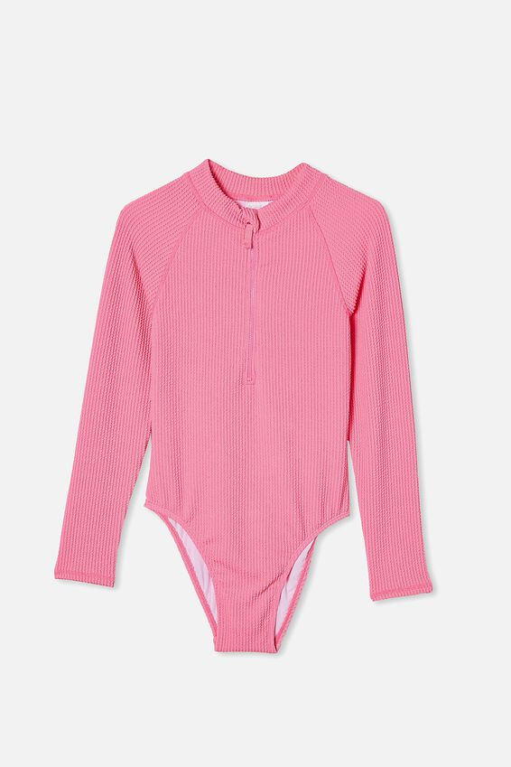 Lindsay Rib Long Sleeve One Piece, PINK PUNCH