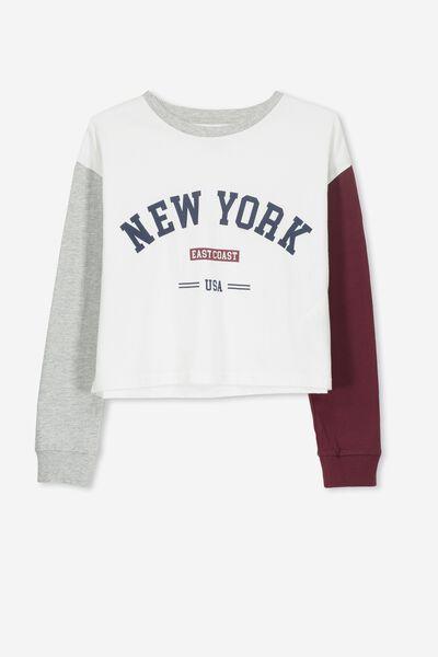 Girls Drop Shoulder Ls Tee, WHITE/NEW YORK