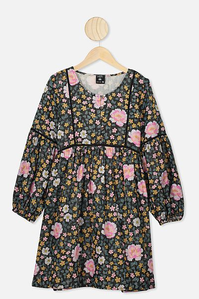 Golda Long Sleeve Dress, LCN KIP/DARK FOREST FLOOR