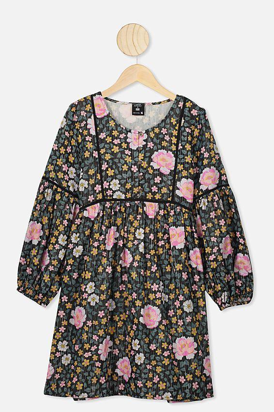 Kip&Co Teen Long Sleeve Dress, LCN KIP/DARK FOREST FLOOR