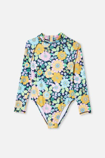 Lindsay Long Sleeve One Piece, INDIAN INK/RETRO FLORAL