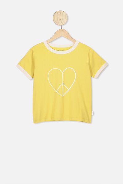 Girls Ringer Tee, CORN SILK/PEACE HEART