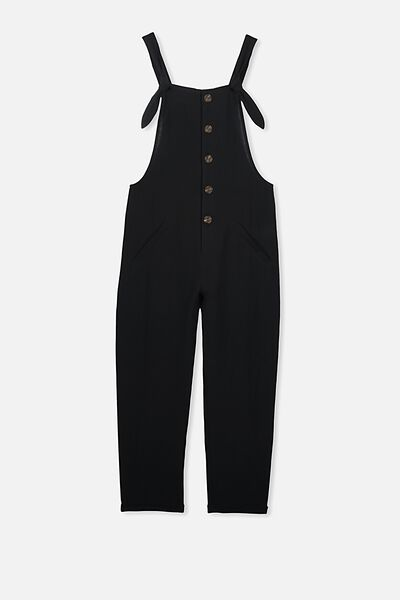 Button Front Jumpsuit, BLACK