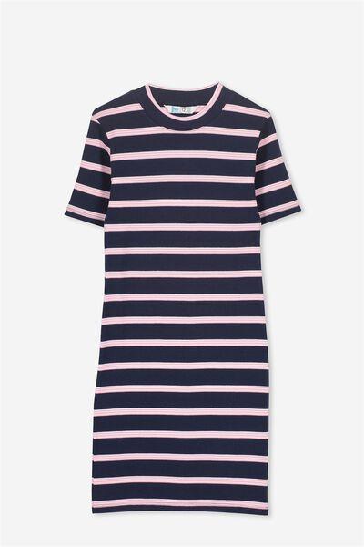 Asta Knit Rib Dress, OBRIEN BLUE/PERRY PINK STRIPE