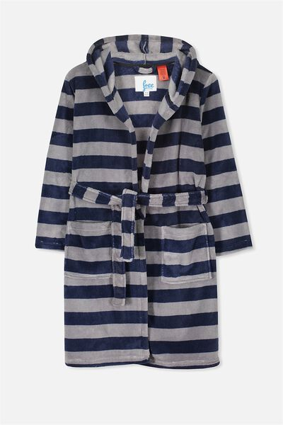 Free Hooded Gown, WASHED NAVY/NEUTRAL GREY STRIPE