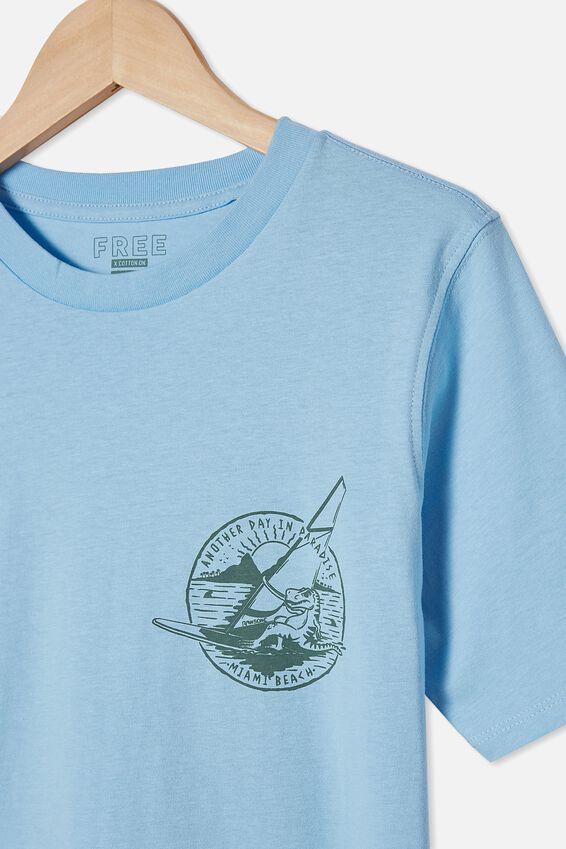 Free Boys Skater Short Sleeve Tee, SKY HAZE/DINO PARADISE