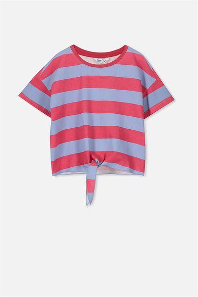 Candy Short Sleeve Fleece Top, CRUSHED RASPBERRY/BLUE BELL STRIPE