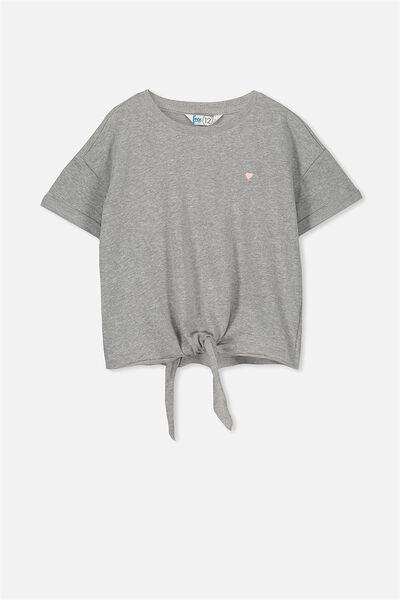 Candy Short Sleeve Fleece Top, MID GREY MARLE/HEART