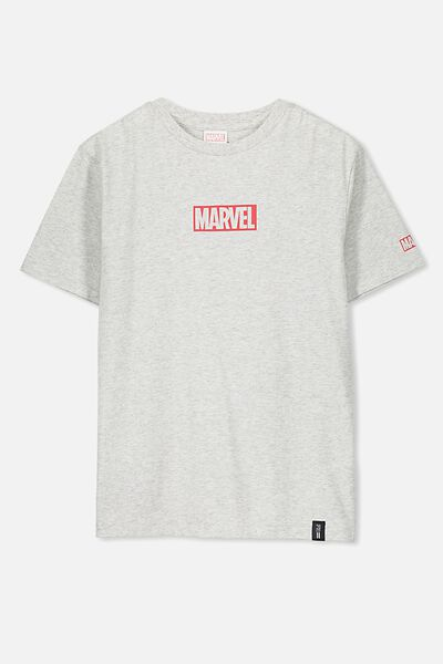 Boys License Short Sleeve Tee, LCN MAR GREY MARLE/MARVEL