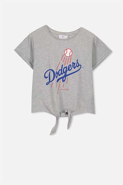 License Tie Front Tee, SOFT GREY MARLE/DODGERS