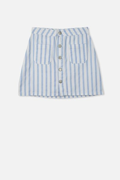 Button Denim Skirt, WHITE/BLUE STRIPE