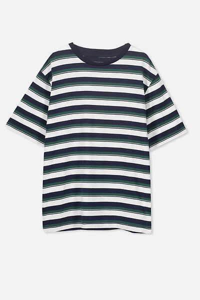 Oversized Tee, NAVY/RICH GREEN STRIPE